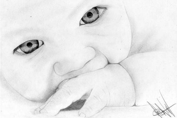Como dibujar ojos a lápiz bebe