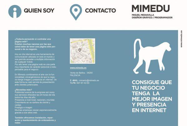 Flyer Diseñador Web Mimedu frontal